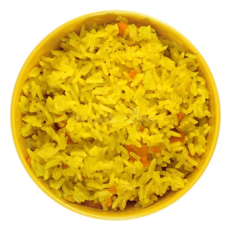 与菜的煮沸的番红花米在黄色碗 库存图片