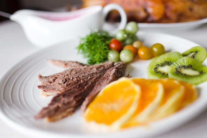 与菜的肉 免版税库存照片