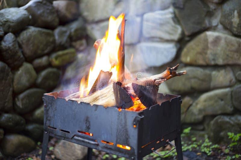 与菜的被分类的可口烤肉在烤肉的煤炭 库存照片