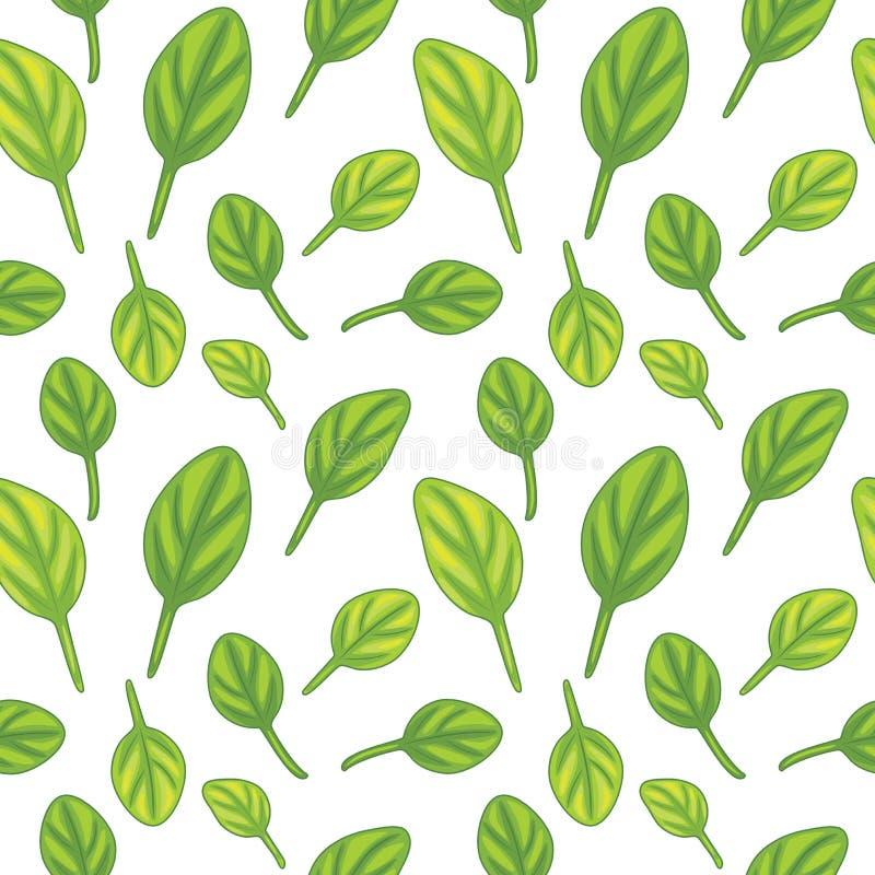 与菠菜叶子的无缝的样式 库存例证