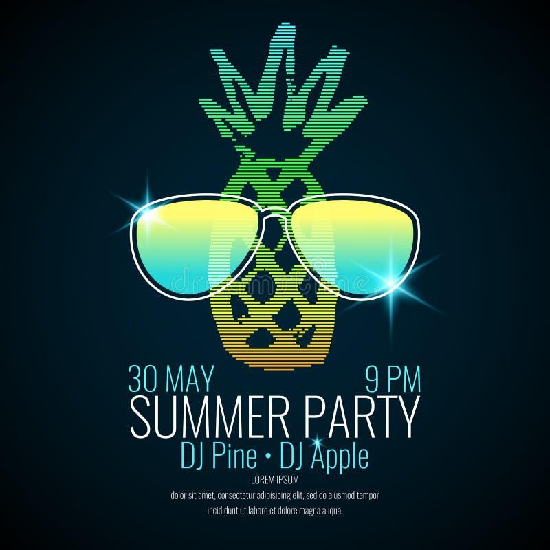 与菠萝佩带的太阳镜的现代海报夏天党 库存例证
