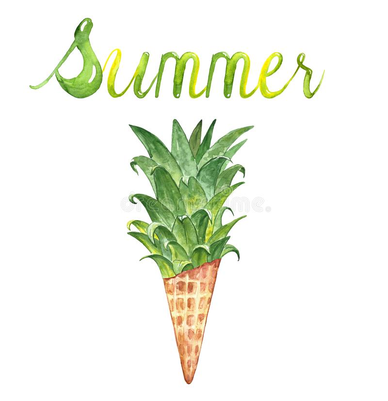 与菠萝叶子和冰淇淋锥体的水彩手拉的夏天例证,隔绝在白色背景 库存例证