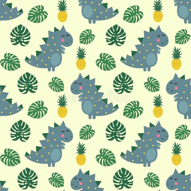 与菠萝和棕榈叶无缝的样式的逗人喜爱的恐龙 库存例证