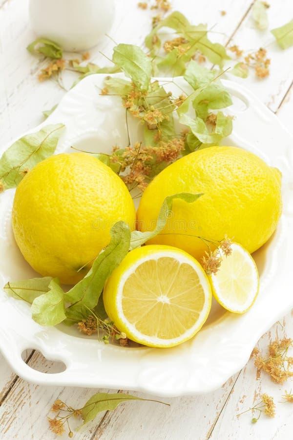 与菩提树的柠檬 免版税库存图片