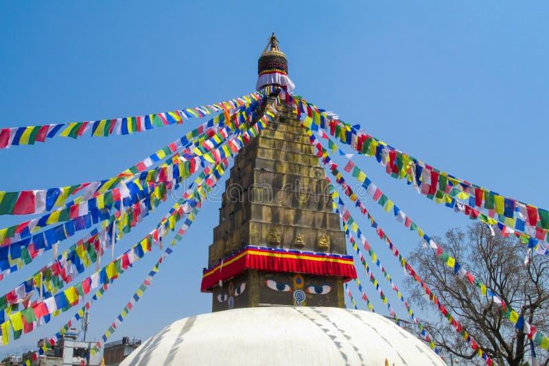 与菩萨眼睛的Stupa在尼泊尔 免版税库存照片