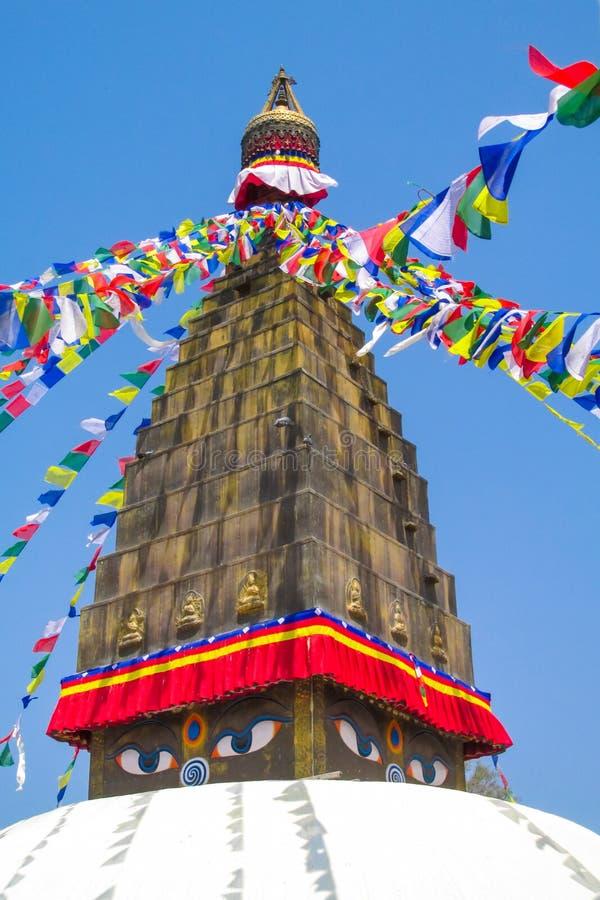 与菩萨眼睛的Stupa在尼泊尔 免版税库存图片