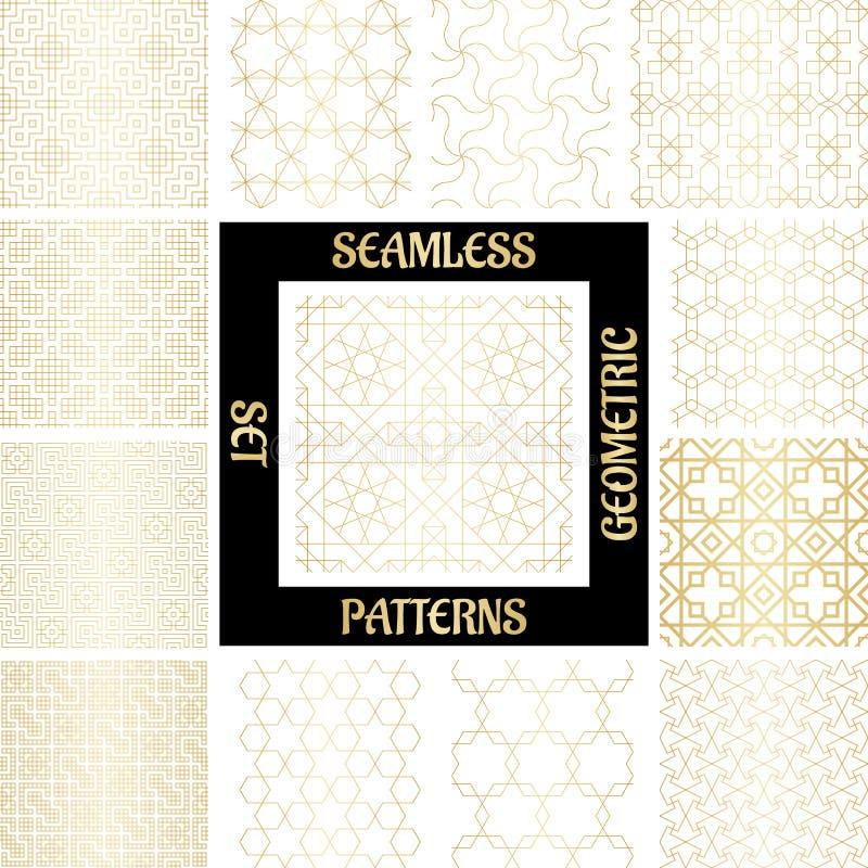 与菱形的集合金黄阿拉伯抽象几何样式,三角和正方形导航例证 皇族释放例证