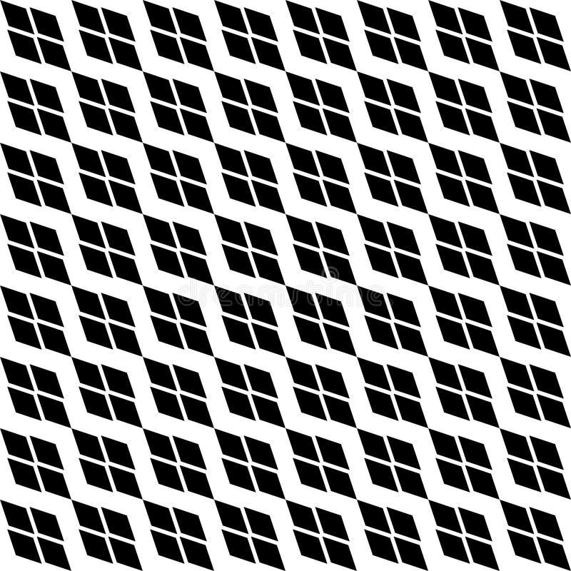 与菱形的黑白对角几何纹理 金刚石无缝的模式 皇族释放例证