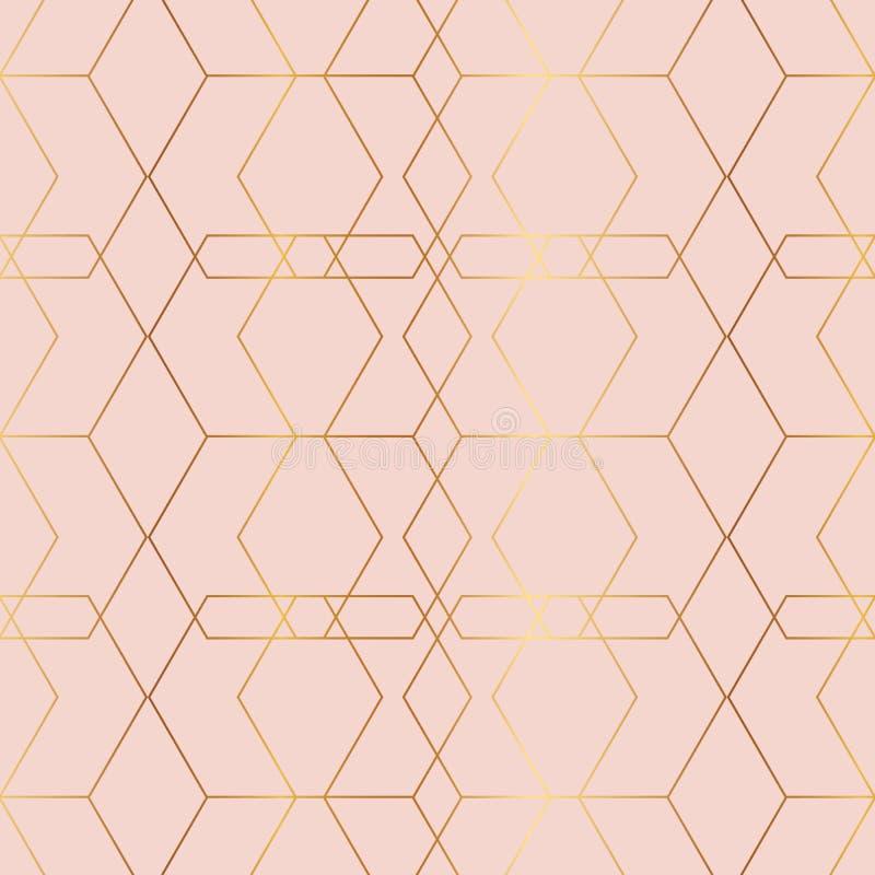 与菱形,六角形的豪华玫瑰色金几何无缝的样式 艺术装饰样式 向量例证