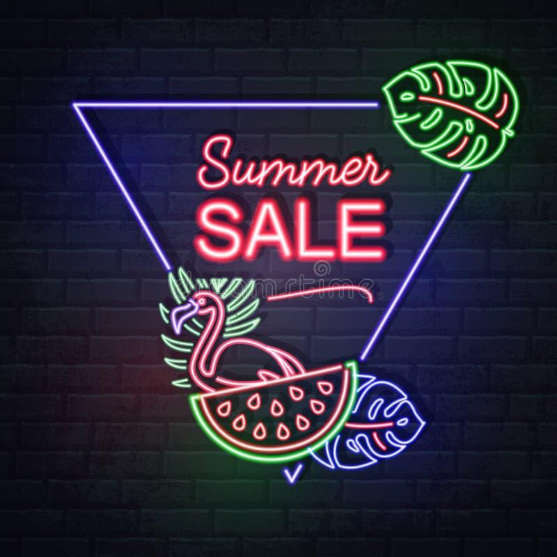 与萤光热带叶子和火鸟的霓虹灯广告夏天大销售 葡萄酒电牌 向量例证
