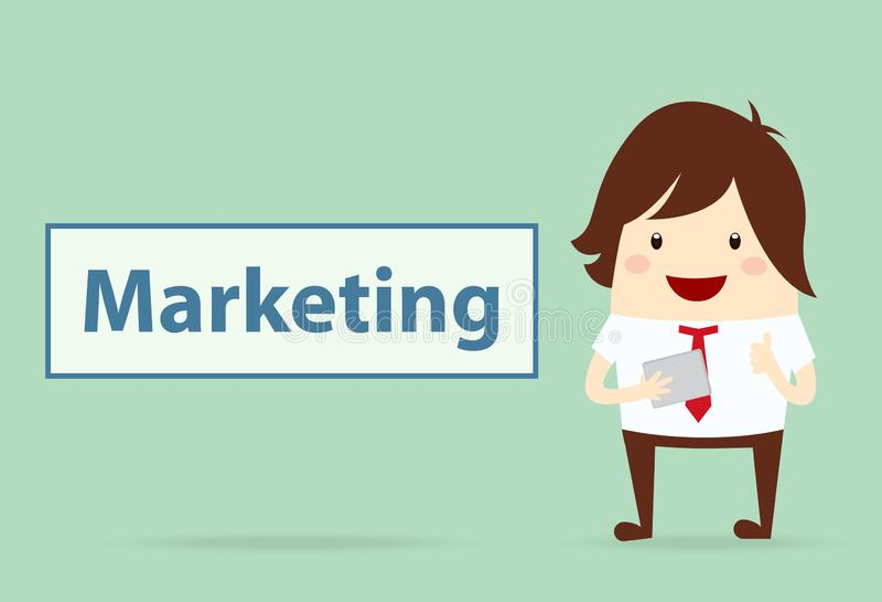 与营销内容,企业概念的愉快的商人 向量例证