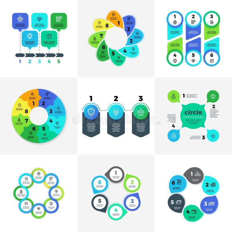 与营销象的企业infographic选择图 工作流布局,图,与步的年终报告和 向量例证