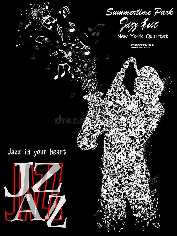 与萨克斯管吹奏者的爵士乐海报 皇族释放例证