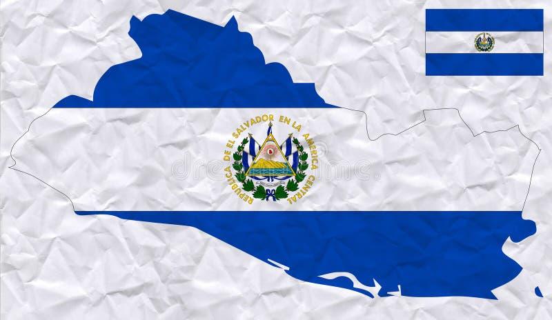 与萨尔瓦多旗子和地图水彩绘画的传染媒介老压皱纸  库存例证