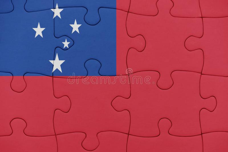 与萨摩亚的国旗的难题 免版税图库摄影