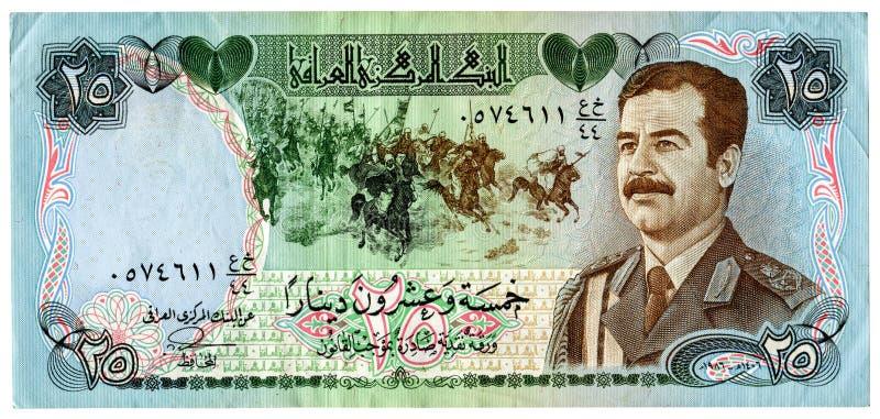 与萨达姆・侯赛因画象的伊拉克钞票 库存图片