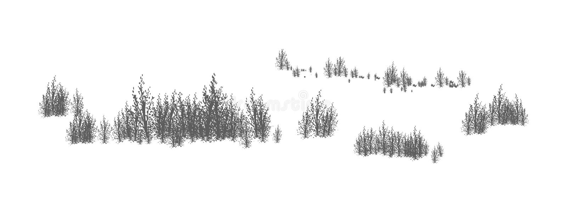 与落叶树和灌木剪影的伍迪风景  有森林植物丛林的水平的全景  皇族释放例证