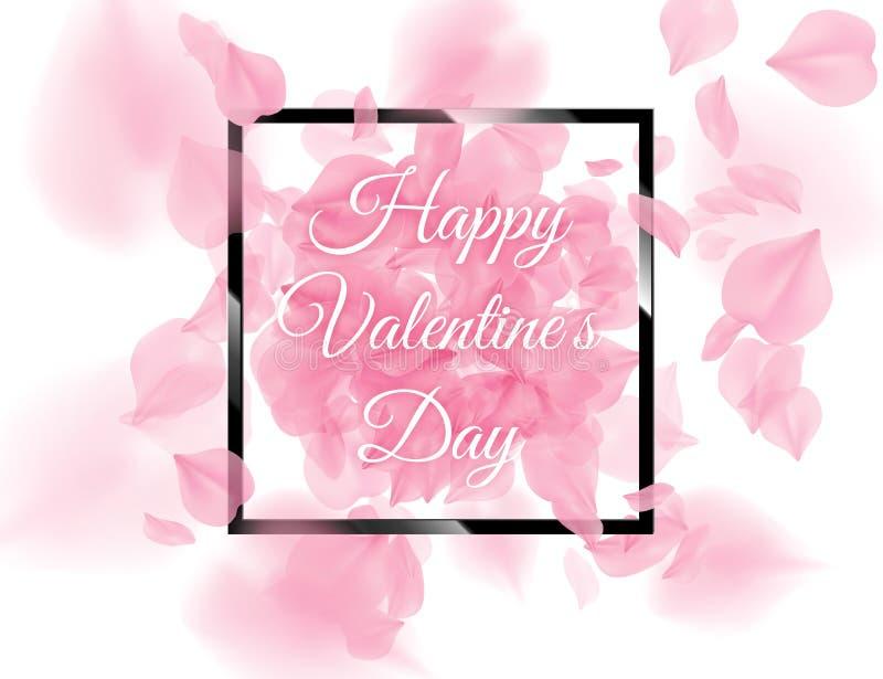与落在白色背景的桃红色sacura瓣的愉快的情人节黑角规框架 传染媒介浪漫玫瑰的花3D 向量例证