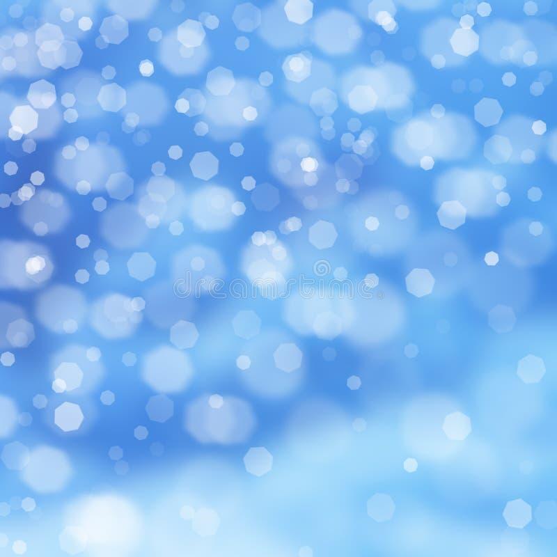 与落的白色光亮的雪的冬天蓝色风景 库存图片