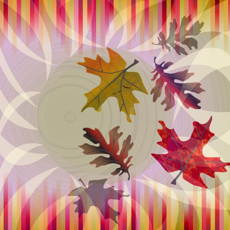 与落的秋天背景生叶和在怀乡颜色的小条 库存例证