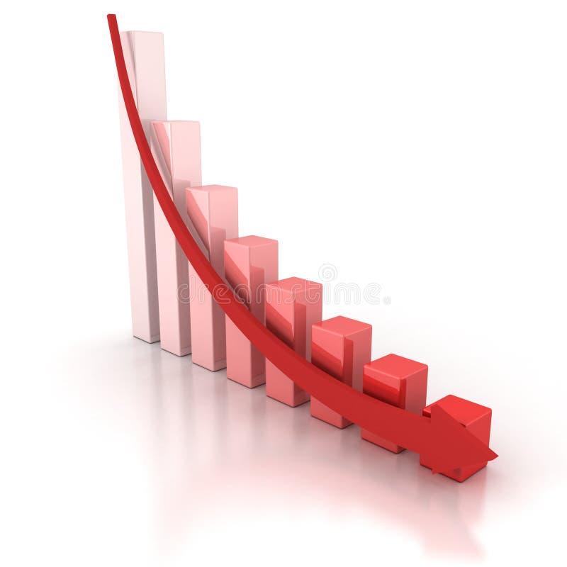 与落的箭头的红色危机企业图形 皇族释放例证