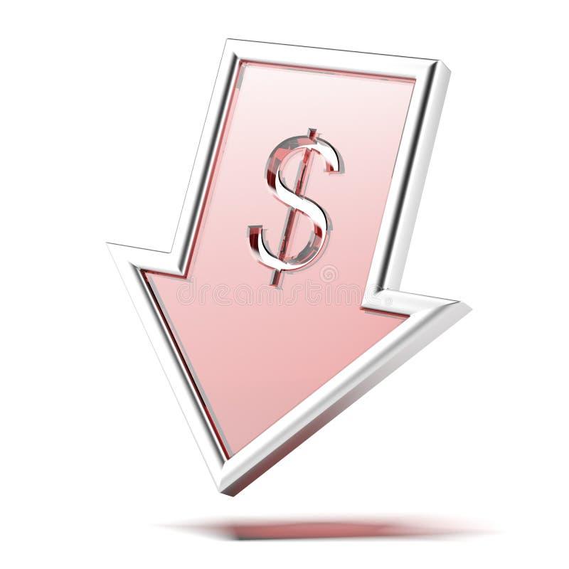 与落的箭头的美元标志 库存例证