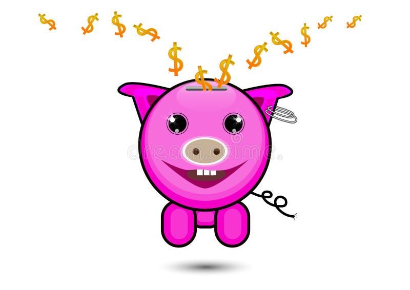 与落的美元的符号的桃红色猪里面,保存的金钱概念 向量例证