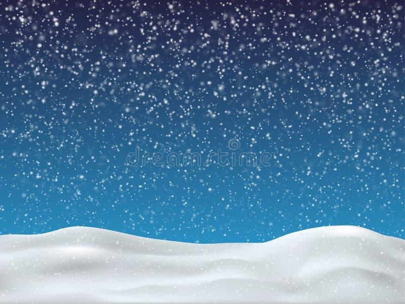 与落的雪的冬天天空蔚蓝 冬天背景圣诞快乐和新年快乐 向量例证