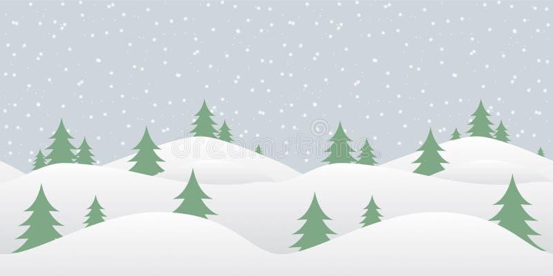 与落的雪的无缝的冬天背景 皇族释放例证