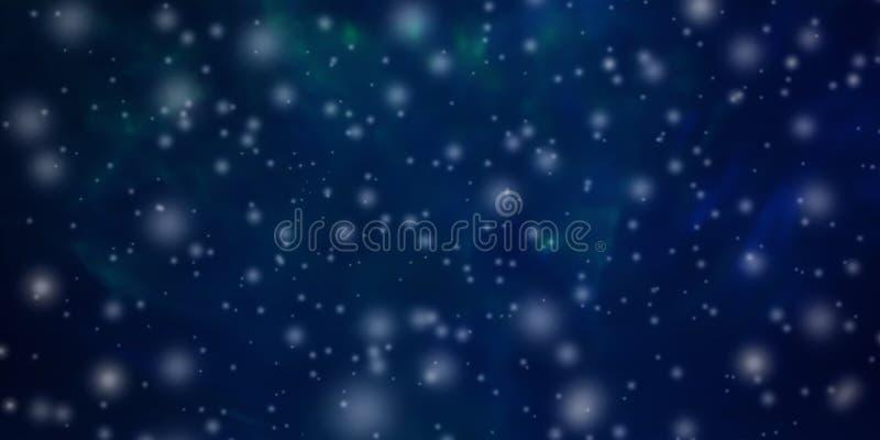 与落的雪的美好的抽象圣诞节和新年的背景和文本的自由空间 库存照片