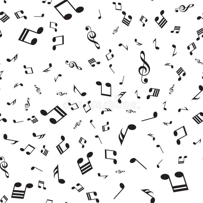 与落的音乐笔记的无缝的样式 向量 向量例证