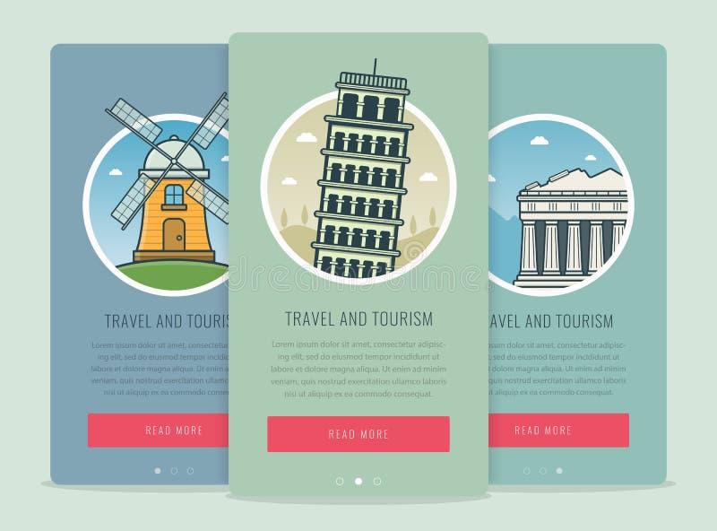 与著名世界地标比萨,雅典,小孩堤防的旅行构成 旅行和旅游业 概念网站模板 向量例证
