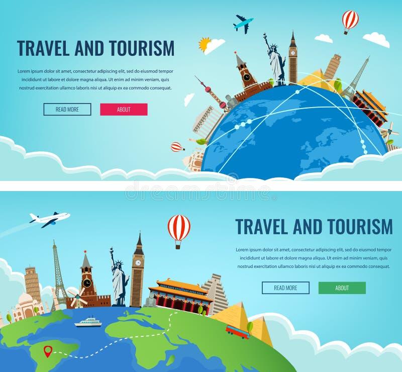 与著名世界地标的旅行构成 旅行和旅游业 概念网站模板 也corel凹道例证向量 向量例证