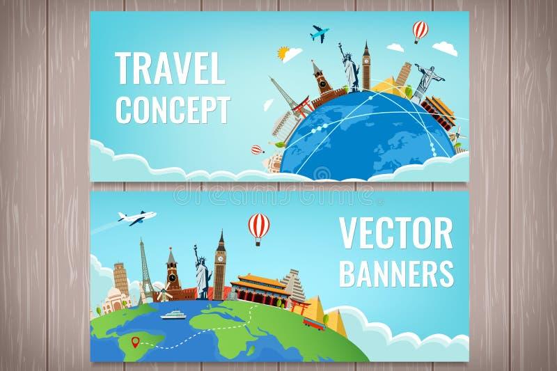 与著名世界地标的旅行构成 旅行和旅游业 概念网站模板 向量 现代平的设计 库存例证