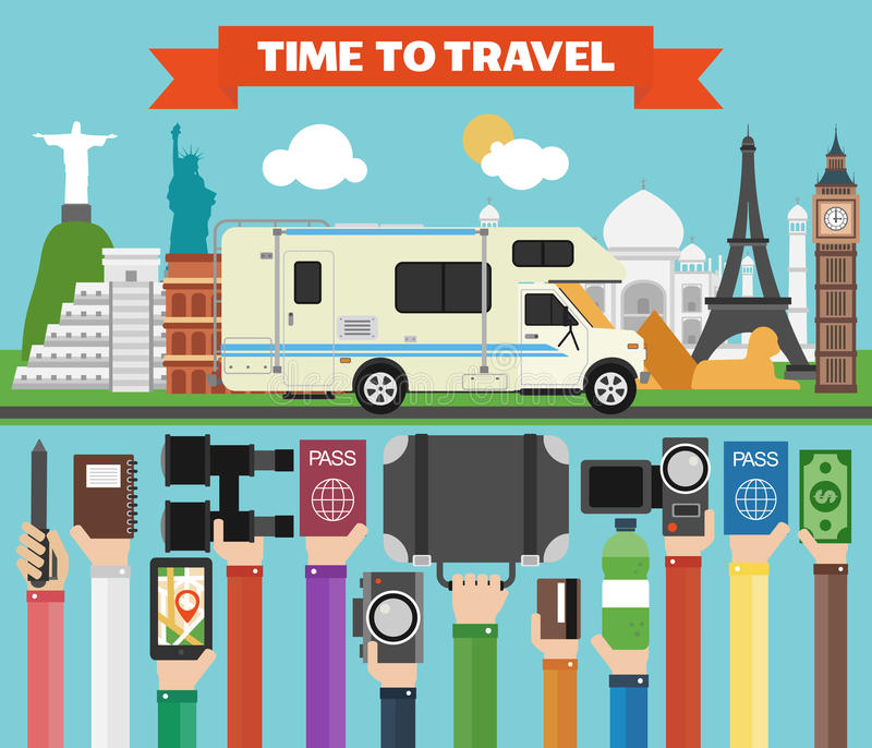 与著名世界现代平的设计的旅行构成与露营车,拖车 向量例证