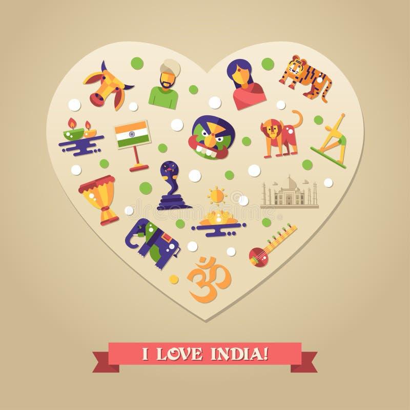 与著名印地安标志象的平的设计印度旅行明信片 向量例证