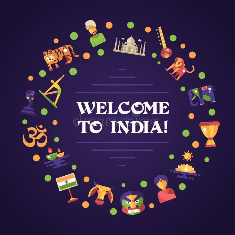 与著名印地安标志象的平的设计印度旅行横幅 皇族释放例证