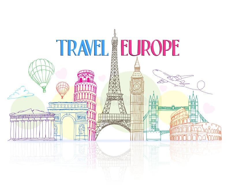 与著名地标的五颜六色的旅行欧洲手图画 库存例证