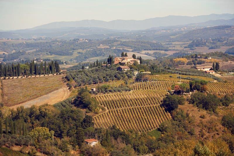 与葡萄园,房子的托斯坎全景横幅风景在托斯卡纳,意大利,欧洲 免版税图库摄影