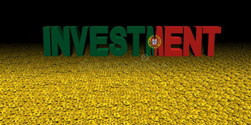 与葡萄牙旗子的投资文本在硬币例证 向量例证