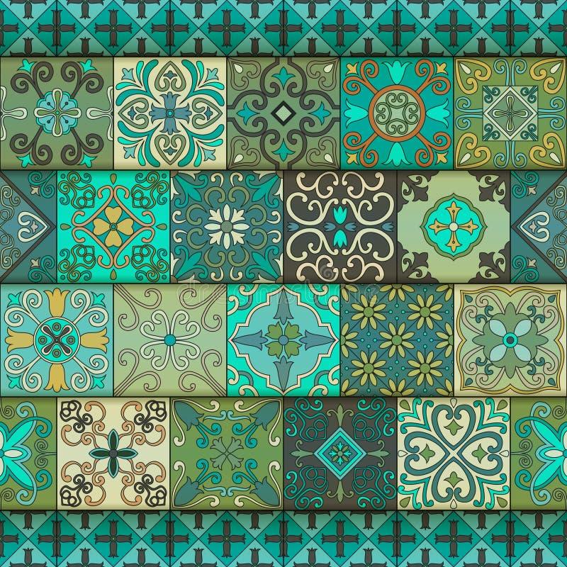 与葡萄牙瓦片的无缝的样式在塔拉韦拉样式 Azulejo,摩洛哥人,墨西哥装饰品 皇族释放例证