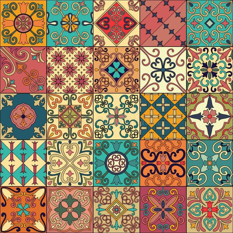 与葡萄牙瓦片的无缝的样式在塔拉韦拉样式 Azulejo,摩洛哥人,墨西哥装饰品 向量例证