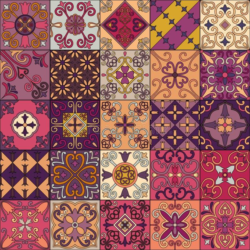 与葡萄牙瓦片的无缝的样式在塔拉韦拉样式 Azulejo,摩洛哥人,墨西哥装饰品 库存例证