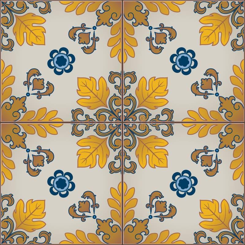 与葡萄牙瓦片的无缝的样式 Azulejo 向量例证