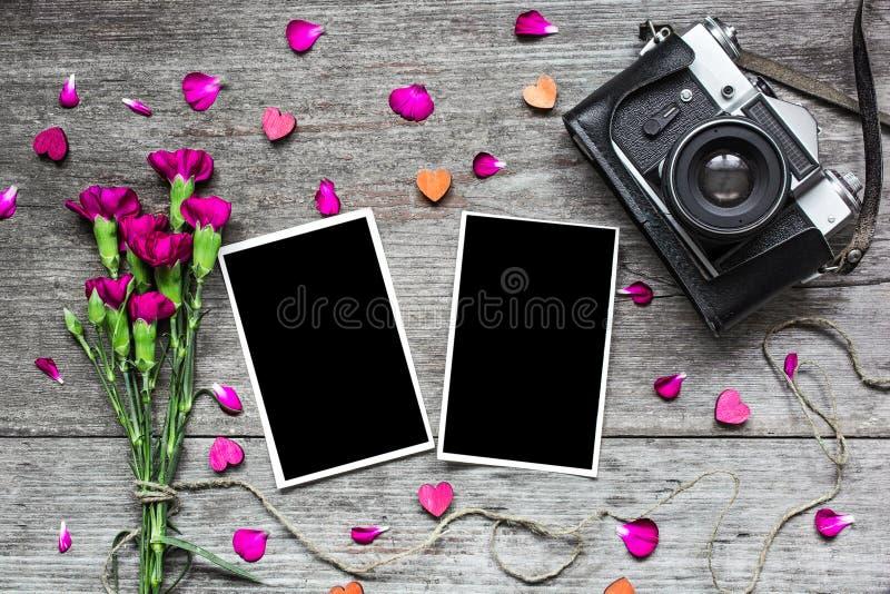 与葡萄酒减速火箭的照相机和康乃馨花的空白的照片框架 免版税库存图片