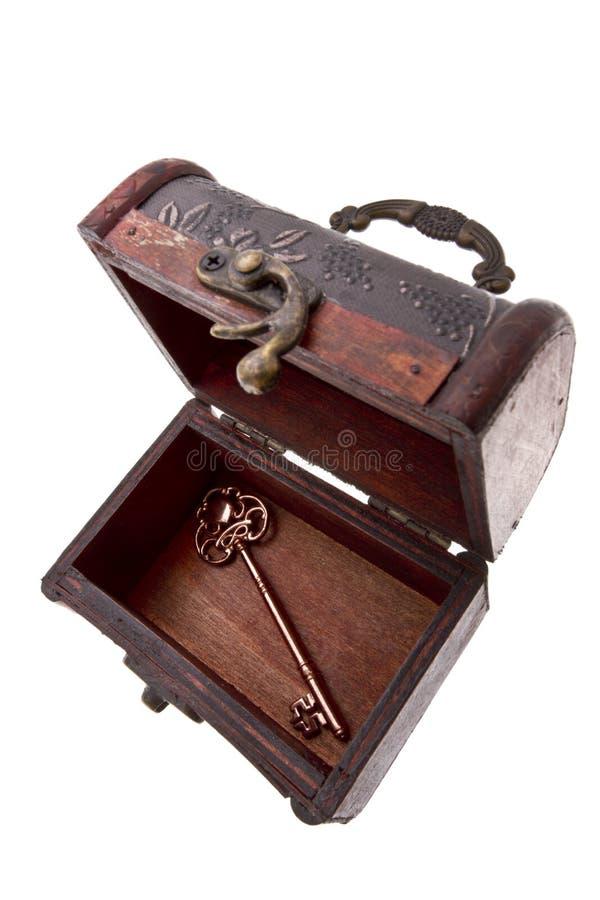 与万能钥匙的宝物箱 免版税库存照片