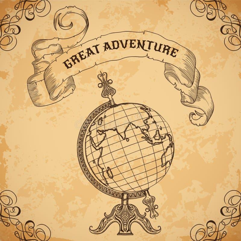 与葡萄酒地球和丝带的海报 减速火箭的手拉的传染媒介例证巨大冒险 皇族释放例证