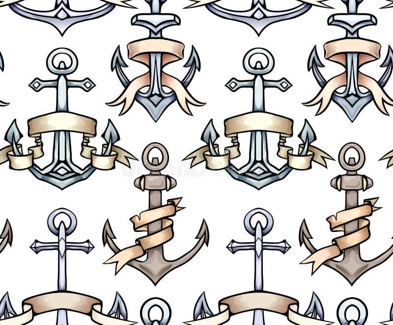 与葡萄酒多彩多姿的动画片船锚的无缝的纹理有纸丝带的 象查找的画笔活性炭被画的现有量例证以图例解释者做柔和的淡色彩对传统 上色模式可能的变形多种向量 皇族释放例证