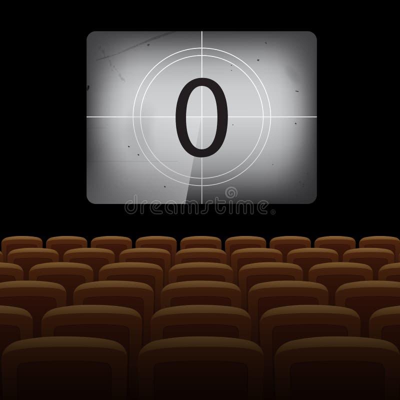 与葡萄酒屏幕和黄色椅子的电影院背景 也corel凹道例证向量