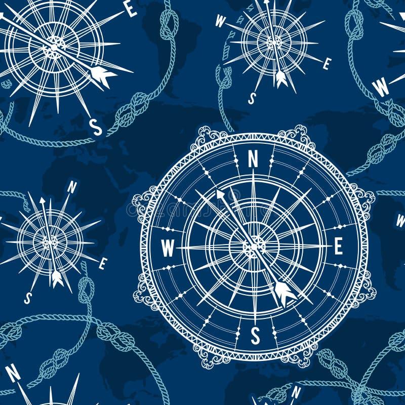 与葡萄酒指南针、玫瑰色世界地图、的风和绳索结的无缝的样式 与一个船舶题材的邮票 向量例证